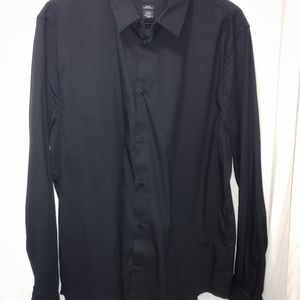 H&M LS BLACK COTTON DRESS SHIRT